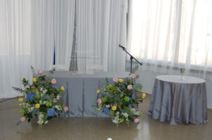 table display at an event center
