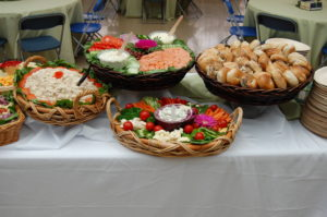 Plates of food and bread baskets